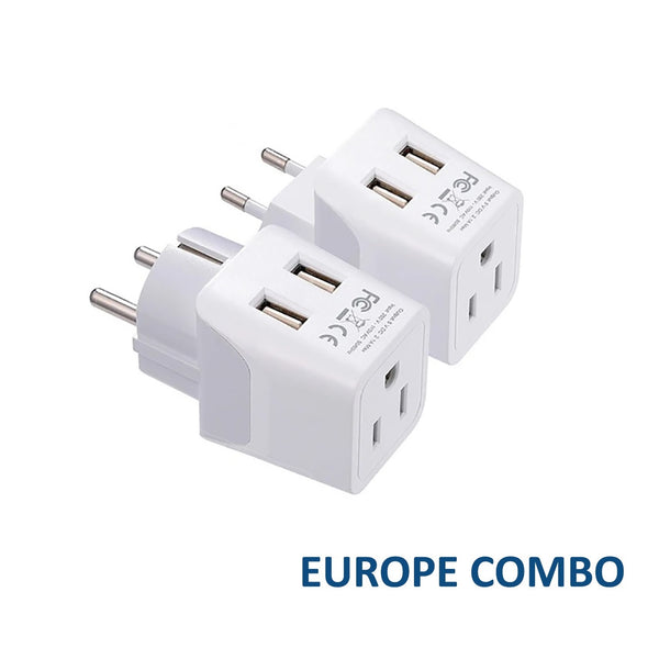 Europe Travel Adapter Plug Combo - Type C, E/F | Dual USB – European Combo