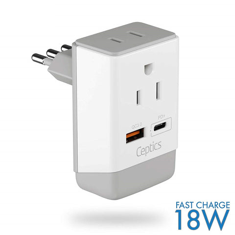 Italy, Chile Travel Adapter | Type L - USB-A & USB-C Ports + 2 USA Outlet (AP-12)