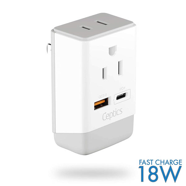 Japan, Philippines Travel Adapter | Type A - USB-A & USB-C Ports + 2 USA Outlet (AP-6)