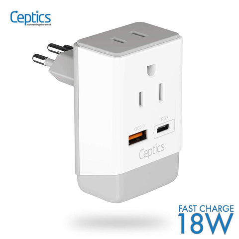 Brazil Travel Adapter | Type N - USB-A & USB-C Ports + 2 USA Outlet (AP-11C)