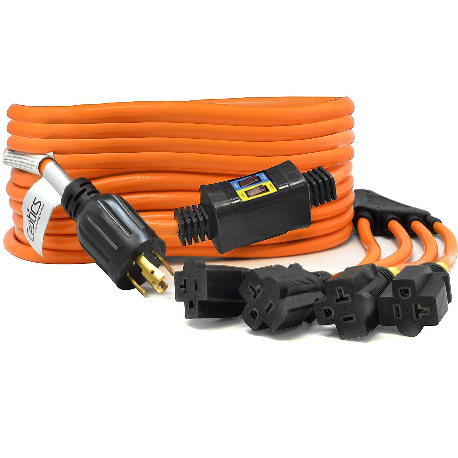 Ceptics 1.5-Ft 30A Generator Distribution Extension Cord L14-30 to 4x 5-15//20R