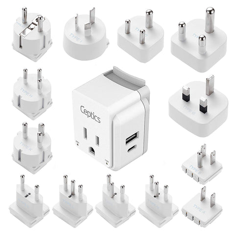 PAK-ALL Complete International 13 Travel Adapter Set | USB & USB-C Ports + 2 US Outlets