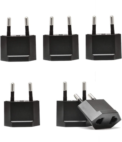 USA / N. America to Europe Asia Plug Adapter - Non-Grounded (UP-6AE,  6 Pack)