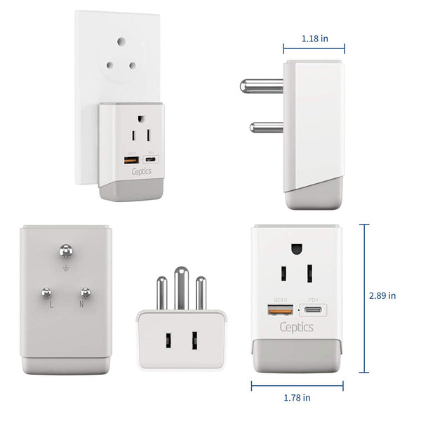 India Travel Adapter | Type D - USB-A & USB-C Ports + 2 USA Outlet (AP-10)