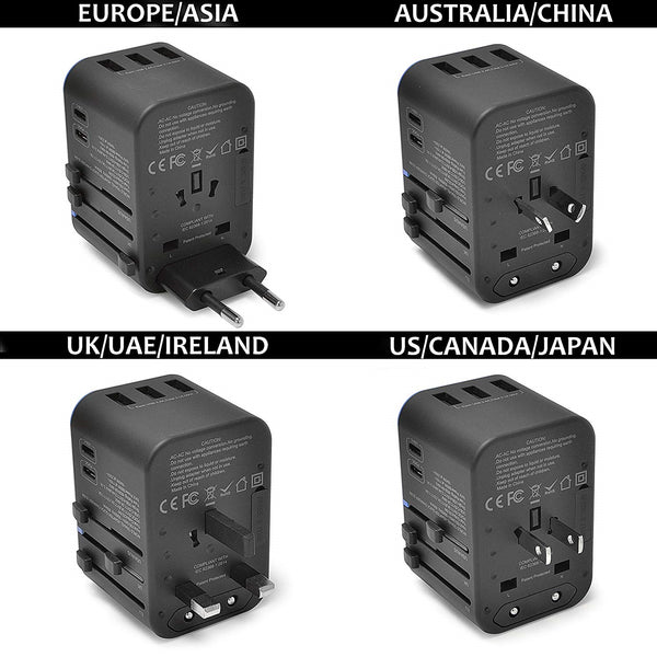 All-In-One International Travel Adapter Plug - 2 USB-C (PD & QC) - 3 USB Ports (UP-11KU)