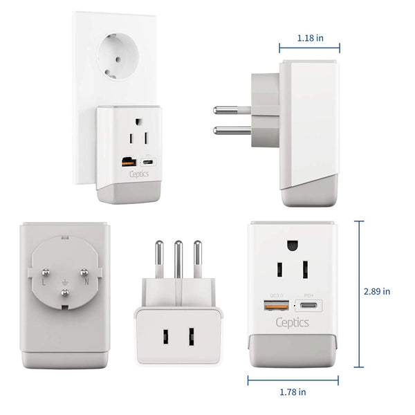 Israel, Palestine Travel Adapter | Type H - USB-A & USB-C Ports + 2 USA Outlet (AP-14)