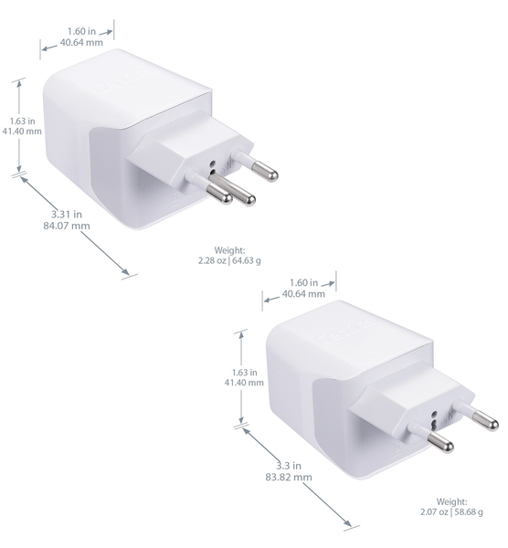 Switzerland Travel Adapter Plug Combo - Type J, C | Dual USB – Swiss Combo