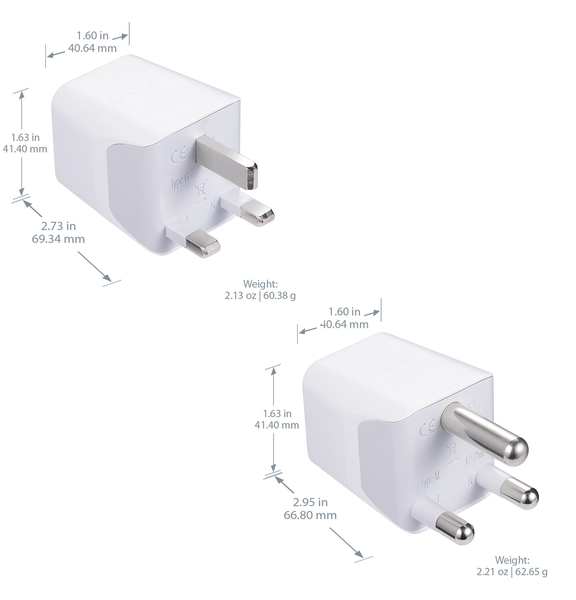 South Africa Adapter Plug Combo Type M, G | Dual USB - African Combo