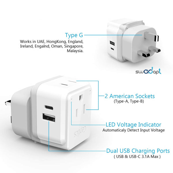 PAK-30-WS Travel Adapter Set |  Type A, B, C, E/F, G, I - USB-C Port with PD + 2 US Outlets