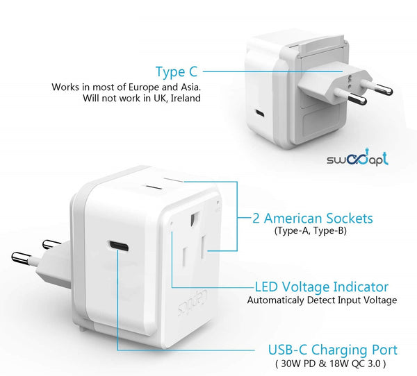 PAK-30W-9C European travel Plug Adapter | Type C - USB C Port + 2 US Outlets