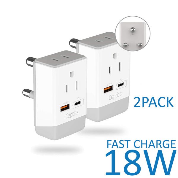 South Africa Travel Adapter | Type M - USB-A & USB-C Ports + 2 USA Outlet (AP-10L)