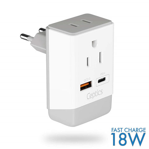 Switzerland Travel Adapter | Type J - USB-A & USB-C Ports + 2 USA Outlet (AP-11A)