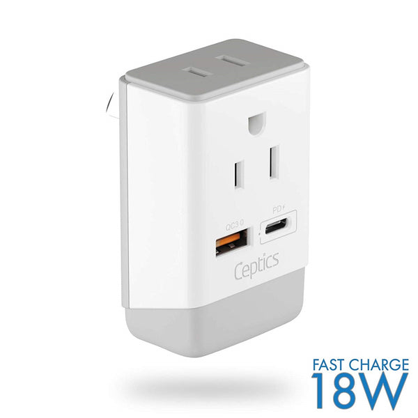 Australia, China Travel Adapter | Type I - USB-A & USB-C Ports + 2 USA Outlet (AP-16)