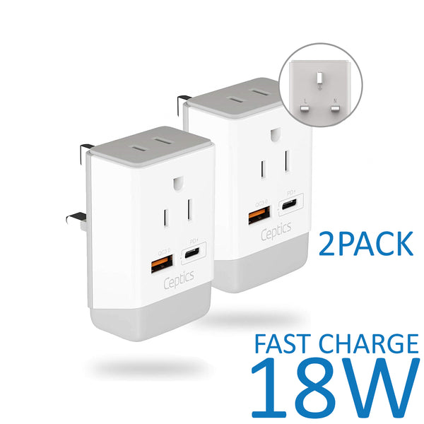 UK, England Travel Adapter | Type G - USB-A & USB-C Ports + 2 USA Outlet (AP-7)