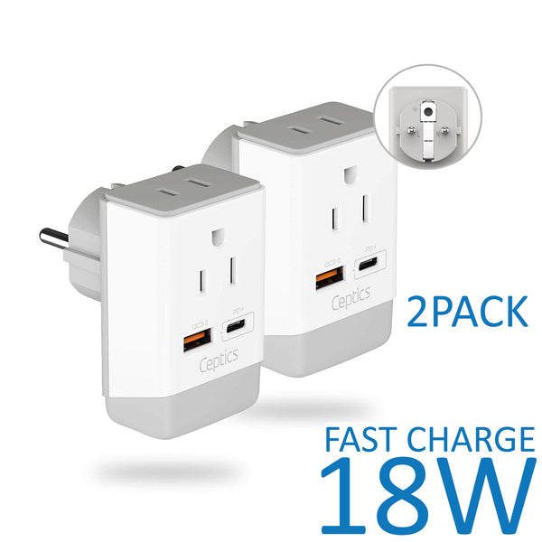 Europe (Schuko) Travel Adapter | Type E/F - USB-A & USB-C Ports + 2 USA Outlet (AP-9)