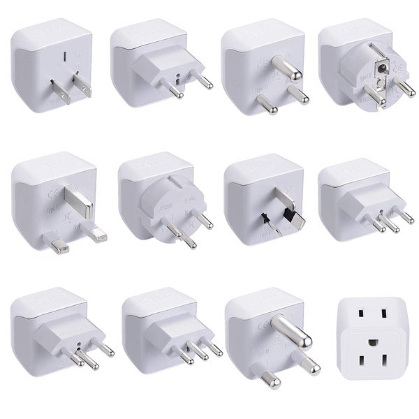 International Travel Adapter Plug Set - 11 pcs (CT-11PK ) - 2in1 Compact