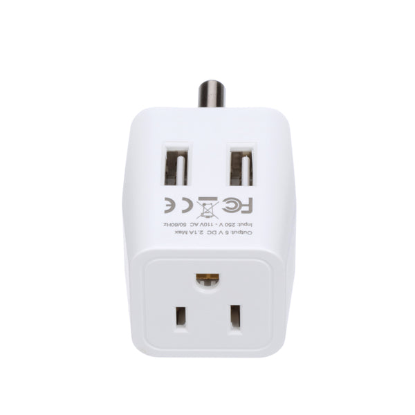 India Travel Adapter - Type D - Dual USB (CTU-10)