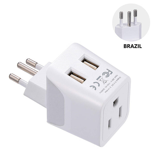 Brazil Travel Adapter Plug Combo - Type C, N | Dual USB - Brazilian Combo