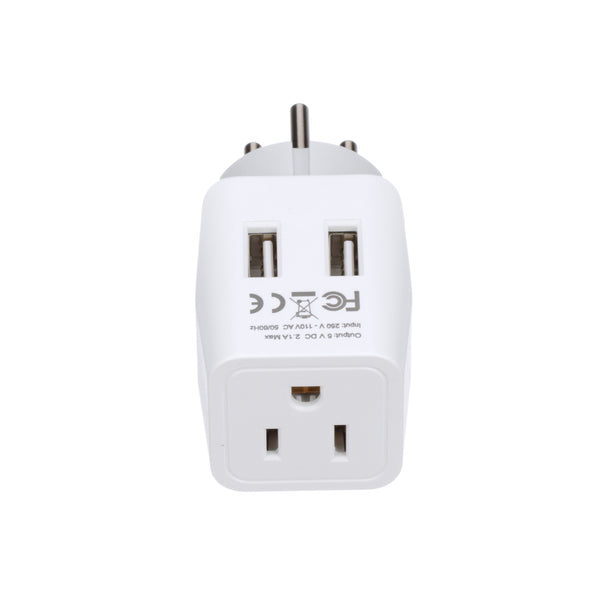 Israel, Palestine Travel Adapter - Type H - Dual USB (CTU-14)