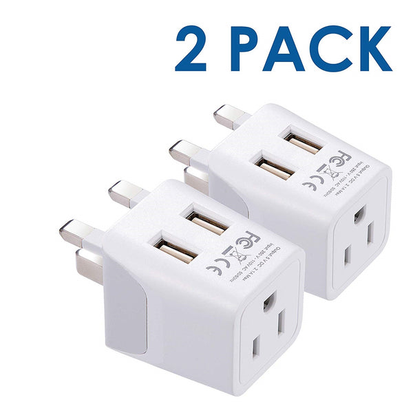 UK, England Travel Adapter - Type G - Dual USB (CTU-7)