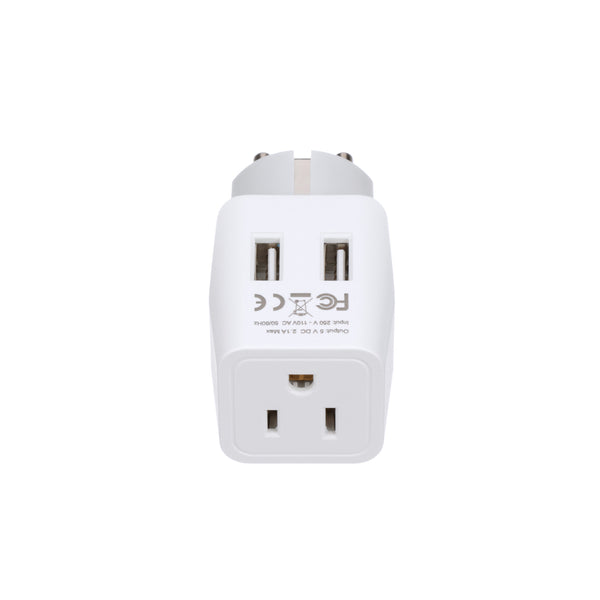 Europe (Schuko) Travel Adapter - Type E/F - Dual USB (CTU-9)