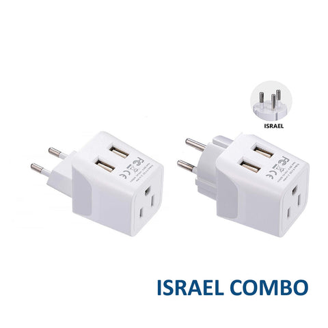 Israel, Palestine (Middle East) Travel Adapter Plug With Dual USB - Type H, C - 2 Pack