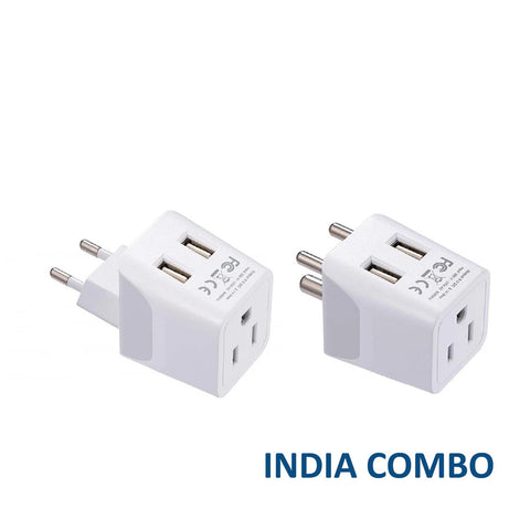 India, Maldives Travel Adapter Plug With Dual USB - Type C, D - 2 Pack