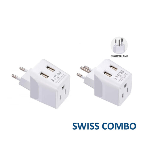 Switzerland Travel Adapter Plug With Dual USB - Type J, C - 2 Pack