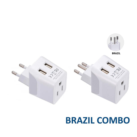 Brazil Travel Adapter Plug With Dual USB - Type C, N - 2 Pack