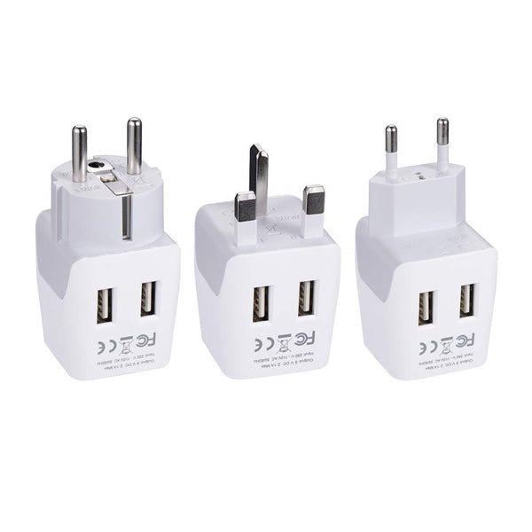 European Travel Adapter Set – Type E/F, G, C - With Dual USB - 3pcs (CTU-EU-SET)
