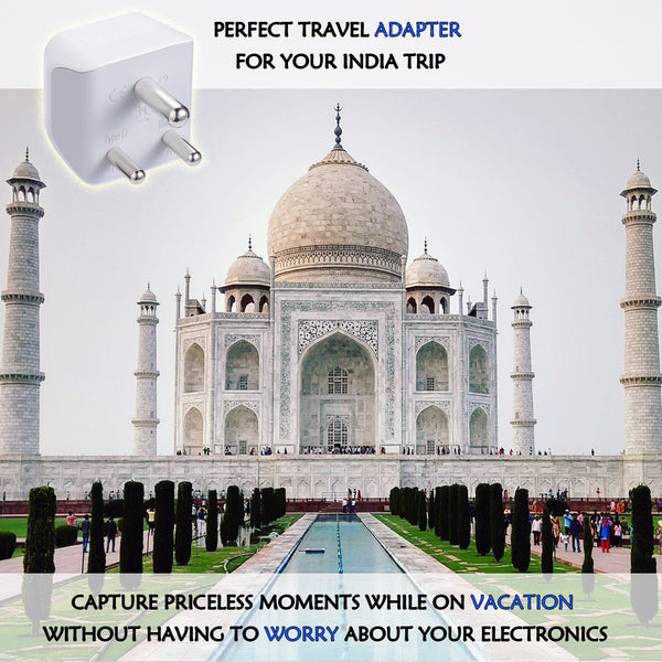 India Travel Adapter - Type D - Ultra Compact (CT-10, 3 Pack)