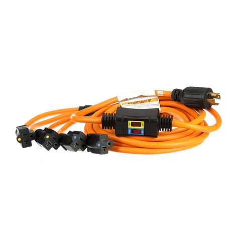 25' Generator Power Cord: 240V NEMA L14-30P to Four 5-20R, 30-Amp, Switch Breaker - UL Listed