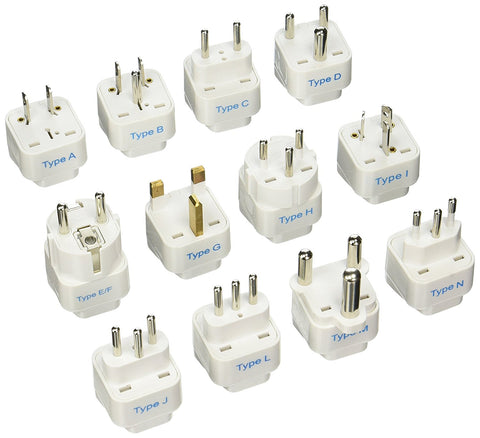International Travel Adapter Plug Set - 12 pcs (GP-12PK ) - Grounded