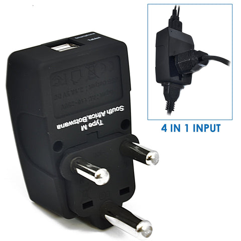 South Africa Travel Adapter - Type M - 4 in 1 - 2 USB Ports (GP4-10L)