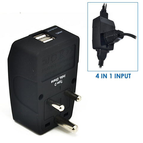 India Travel Adapter - Type D - 4 in 1 - 2 USB Ports (GP4-10)