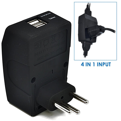 Brazil Travel Adapter - Type N - 4 in 1 - 2 USB Ports (GP4-11C)