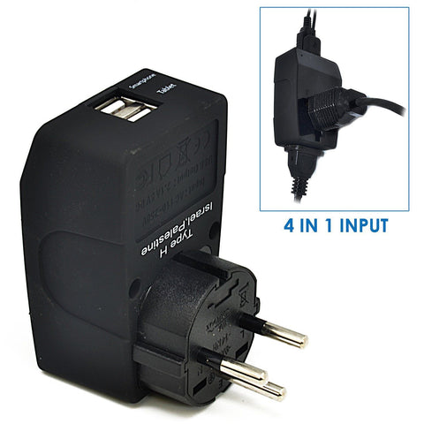 Israel Travel Adapter - Type H - 4 in 1 - 2 USB Ports (GP4-14)