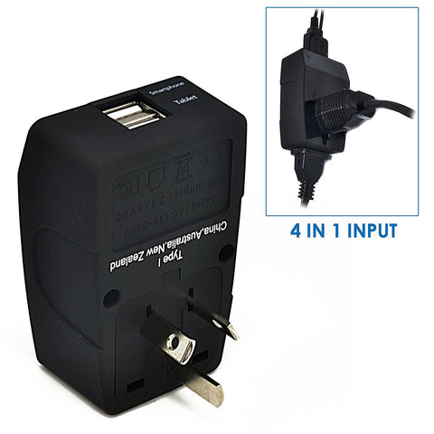 Australia, China Travel Adapter - Type I - 4 in 1 - 2 USB Ports (GP4-16)