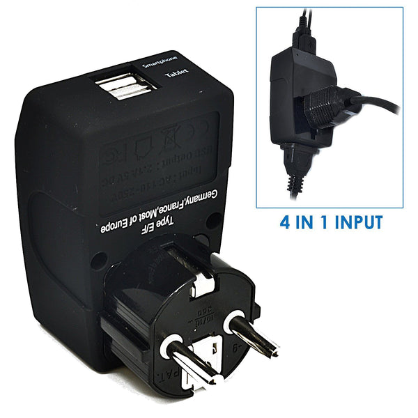 European Schucko Travel Adapter - Type E/F - 4 in 1 - 2 USB Ports (GP4-9)