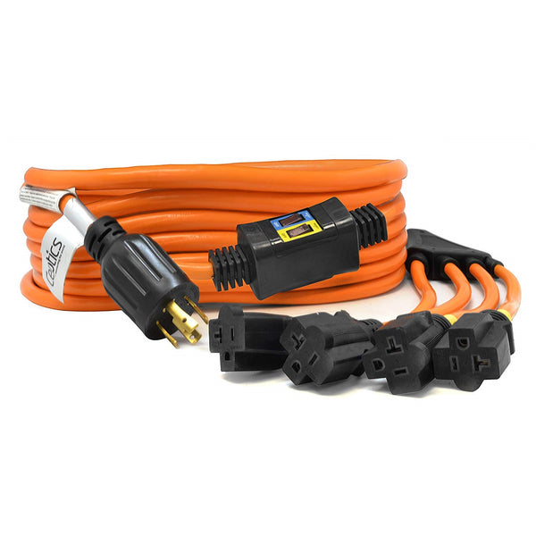 25-Ft 30-Amp Generator Distribution Extension Cord (L14-30 to 4x 5-15/20R) w/ Breaker Switch