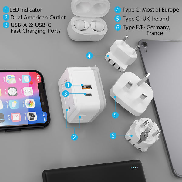 PAK-EU Travel Adapter Kit | Type C, E/F, G - USB & USB-C Ports + 2 US Outlets