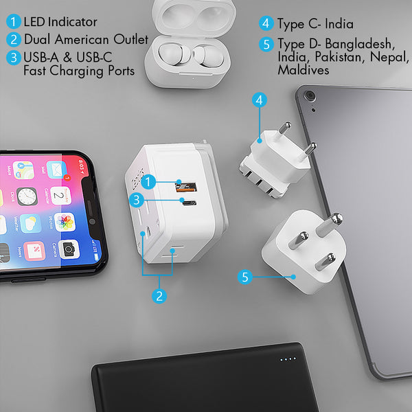 PAK-IN India, Nepal Travel Adapter Set | Type C, D - USB & USB-C Ports + 2 US Outlets