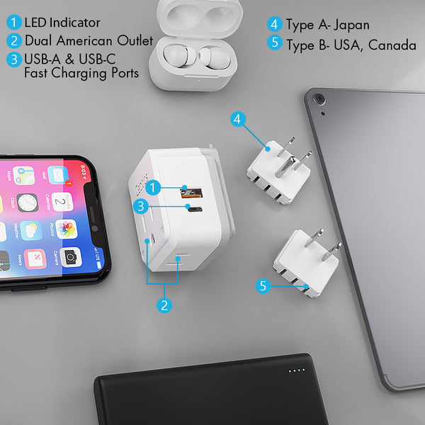 PAK-JP Japan, Philippines Travel Plug Adapter Set | Type A, B - USB & USB-C Ports + 2 US Outlets