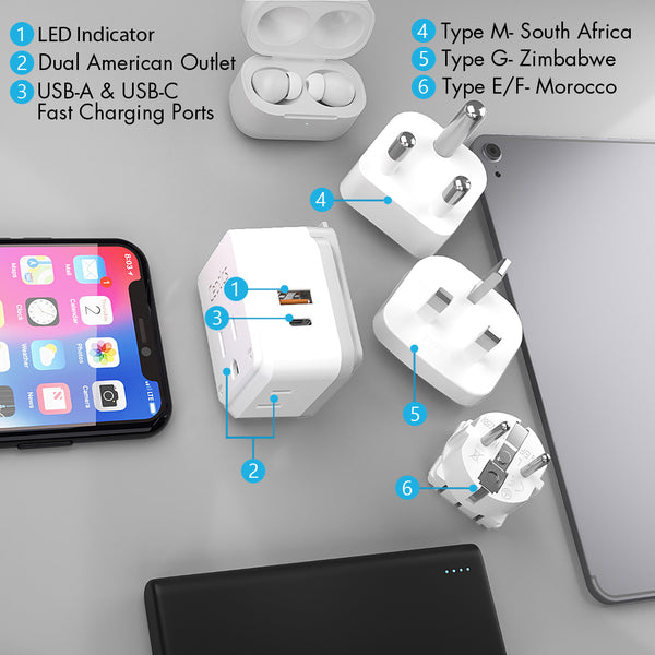 PAK-AF Africa Travel Adapter Set | Type E/F, G, M - USB & USB-C Ports + 2 US Outlets