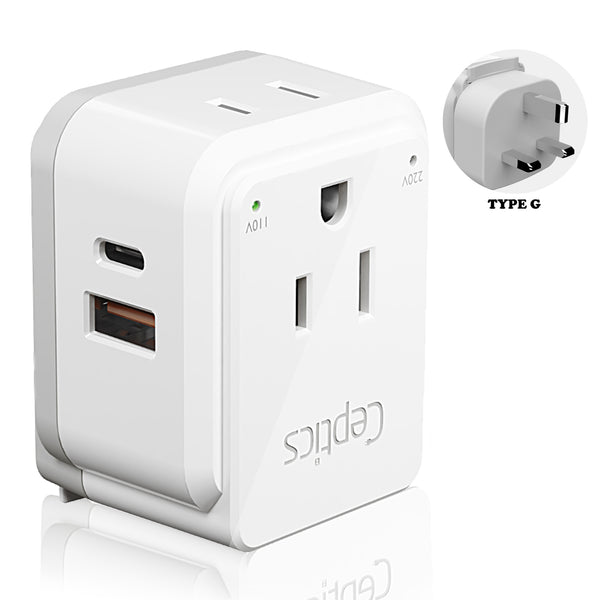 PAK-UK England, Hong Kong Travel Adapter | Type G - USB & USB-C Ports + 2 US Outlets