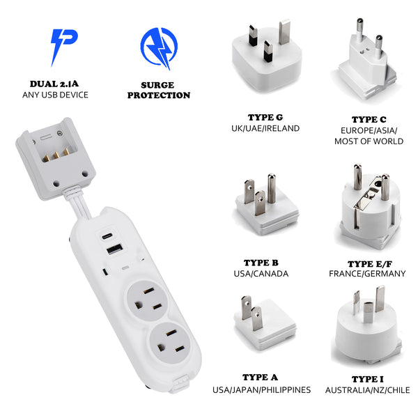 Compact Travel Power Strip - 2 US Outlets, USB & USB-C Ports - Grounded (PS-2U+)