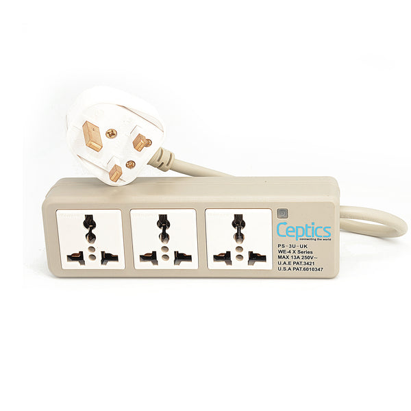 Universal Travel Power Strip - 3x Outlet, Type G - UK Cord (PS-3U-UK)
