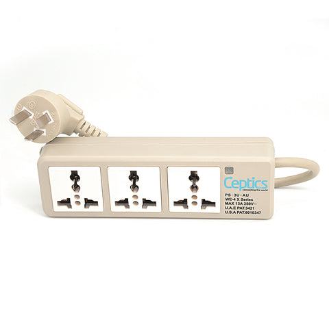 Universal Travel Power Strip - 3x Outlet, Type I - Australia Cord (PS-3U-AU)