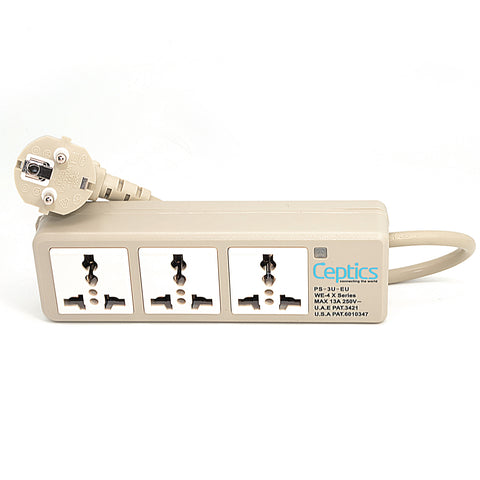 Universal Travel Power Strip - 3x Outlet,  Type E/F - European Schuko Cord (PS-3U-EU)