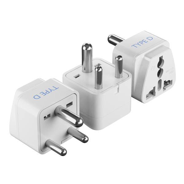 India Travel Adapter - Type D - 3 Pack (GP-10)